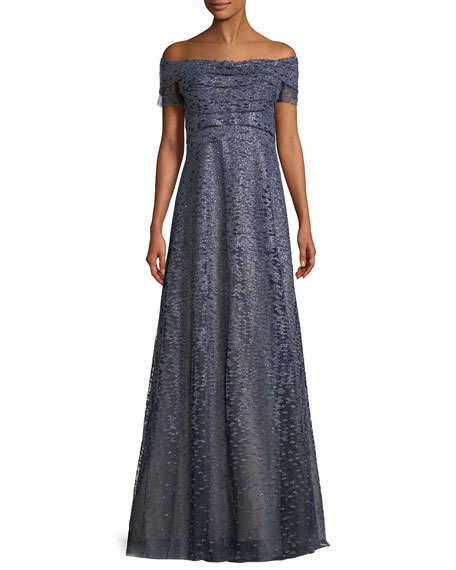 Metallic Off-the-Shoulder A-Line Gown