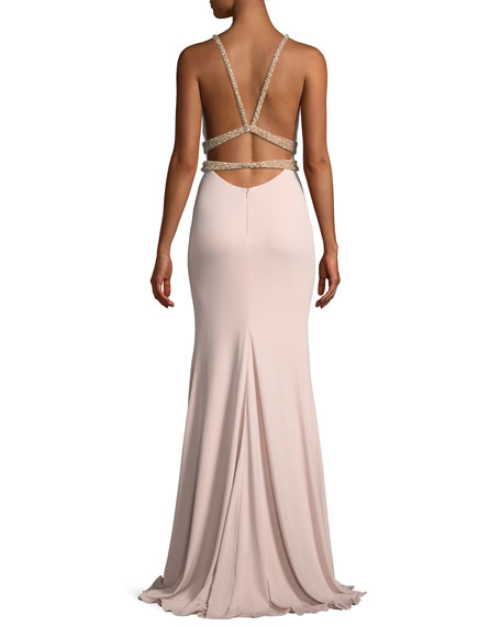 Sleeveless Jersey Beaded Mermaid Gown