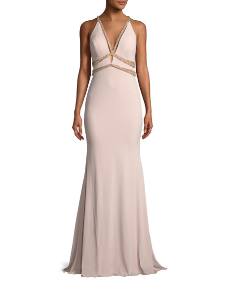 Sleeveless Jersey Beaded Mermaid Gown