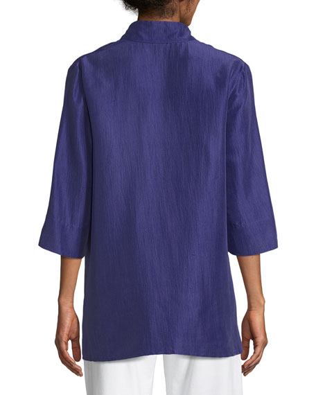 3/4-Sleeve Silk Doupioni Shirt, Plus Size