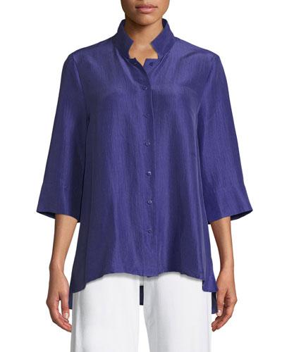 3/4-Sleeve Silk Doupioni Shirt, Plus Size