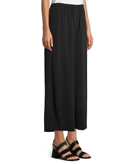 Crepe Wide-Leg Ankle Pants, Plus Size