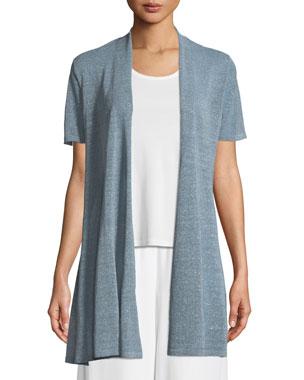 44b318d9 Eileen Fisher Organic Linen-Crepe Shimmer Long Cardigan