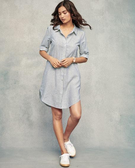 Petite Striped Hemp-Blend Shirtdress