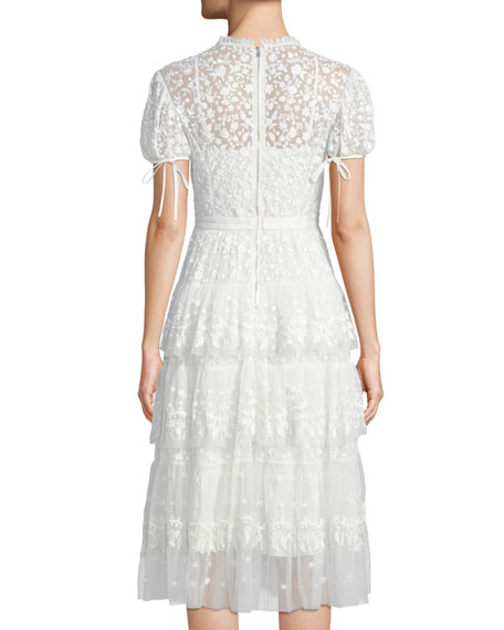 Layered Cap-Sleeve Lace Midi Cocktail Dress