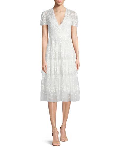 Layered Cap-Sleeve Lace Midi Cocktail Dress