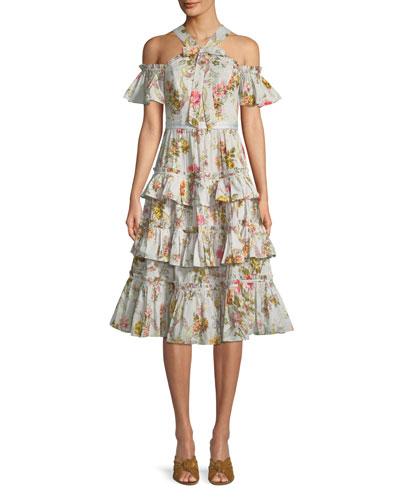 Rainbow Rose Ruffle Cold-Shoulder Midi Dress