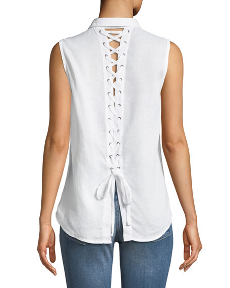 DL1961 Premium Denim N7th Kent Sleeveless Button-Down Lace-Up