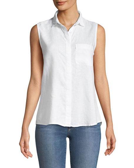 N7th Kent Sleeveless Button-Down Lace-Up Back Top