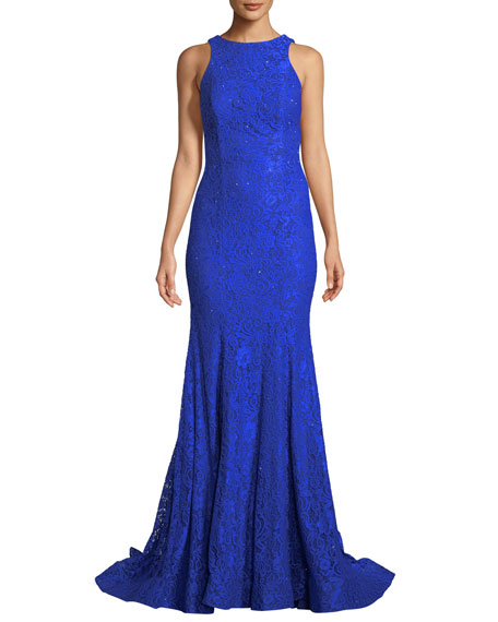 Stretch Lace Gown with Sheer Sides