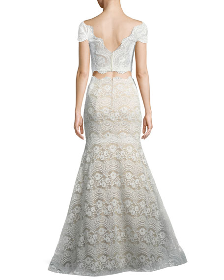 Stretch Lace Two-Piece Scalloped Gown