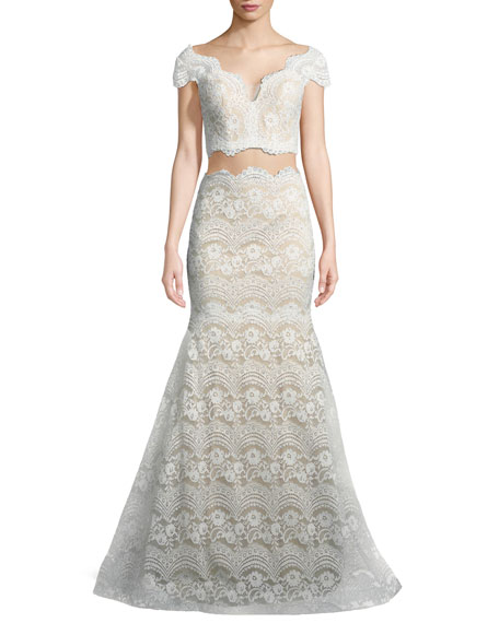 La Femme Stretch Lace Two-Piece Scalloped Gown