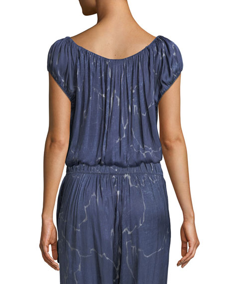 Halston Heritage Ruched-Neck Short-Sleeve Top