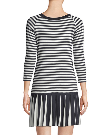 Dahlia Crewneck Striped Dress w/ Pleated Hem