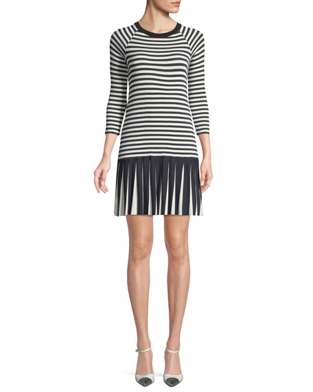 Bailey 44 Dahlia Crewneck Striped Dress w/ Pleated