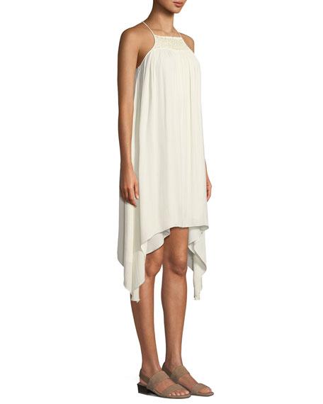 Halston Heritage Smocked High-Neck Sleeveless Dress