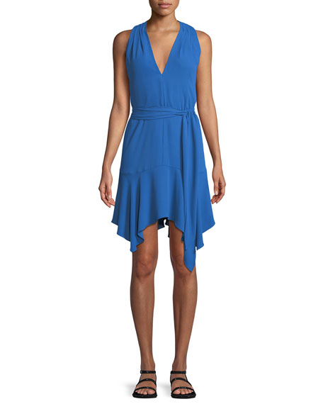 Halston Heritage Sleeveless V-Neck Dress with Sash