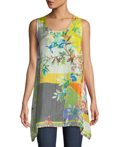 Valley Printed Scoop-Neck Long Easy Tank, Plus Size
