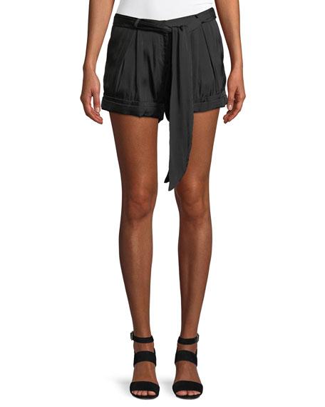 Halston Heritage Solid Satin Tie-Waist Shorts