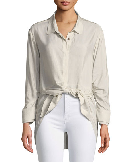 Ruched-Sleeve Striped Shirt