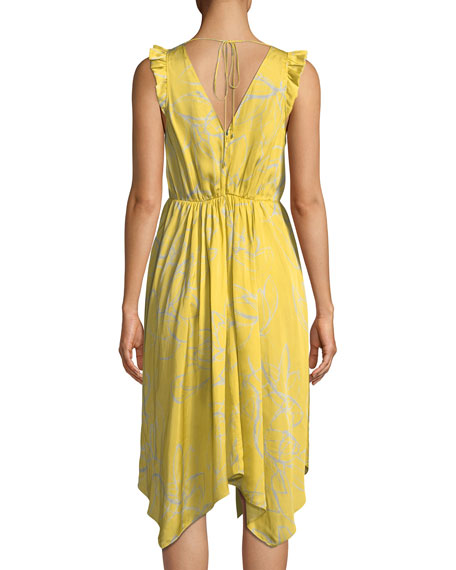 Image 2 of 3: Halston Heritage Ruffle-Trim V-Neck Floral-Print Dress