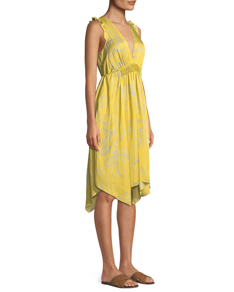 Image 3 of 3: Halston Heritage Ruffle-Trim V-Neck Floral-Print Dress