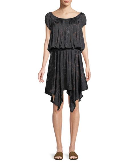 Ruched-Neck Floral-Print Dress