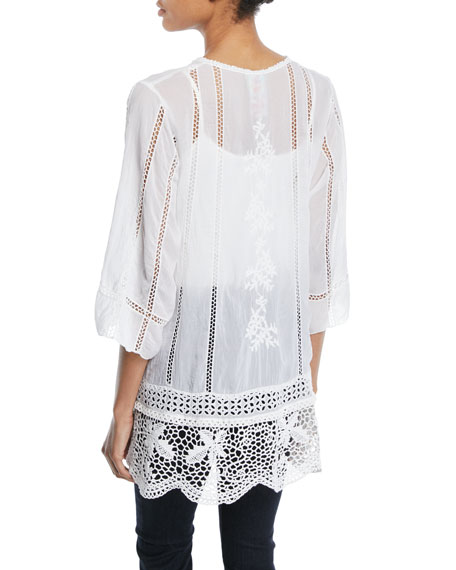 Elle Crochet-Trim Tunic, Plus Size