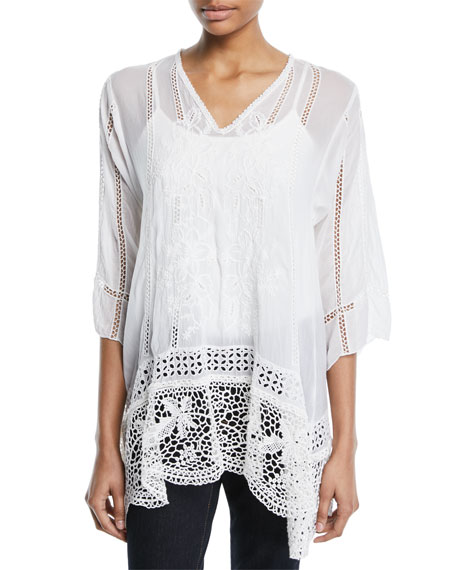 Johnny Was Elle Crochet-Trim Tunic, Plus Size