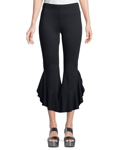 Petunia Flared-Leg Crop Pants