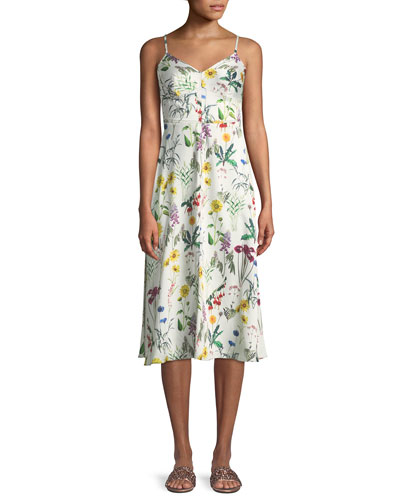 Fly Trap Sleeveless Floral-Print Dress