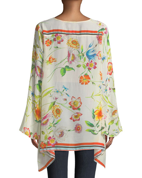 Fiska Flare-Sleeve Floral-Print Blouse, Plus Size
