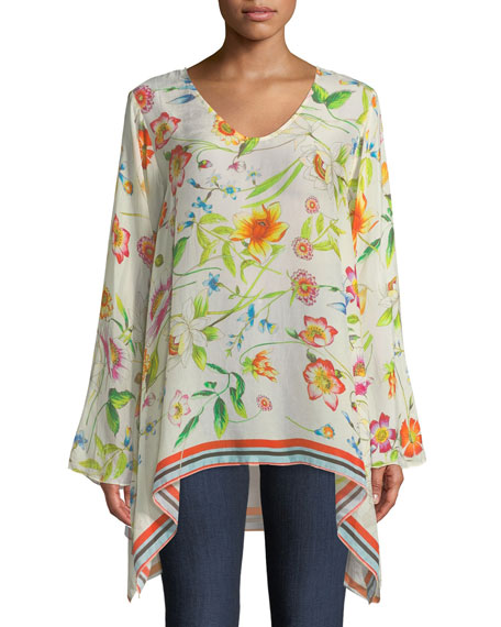 Johnny Was Fiska Flare-Sleeve Floral-Print Blouse, Plus Size