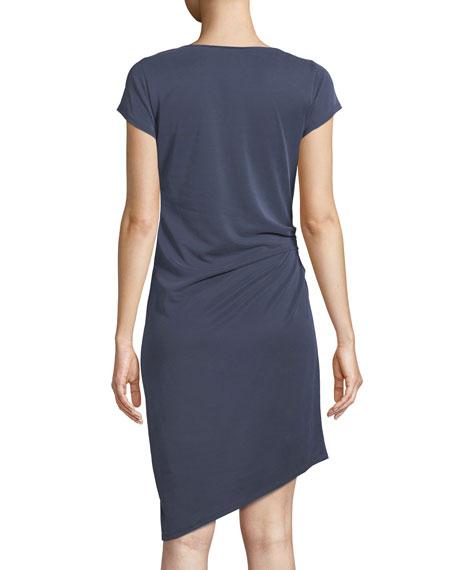 Draped Boat-Neck Jersey Dress