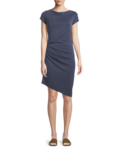 Draped Boat-Neck Jersey Dress