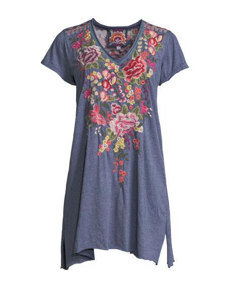Adeline Short-Sleeve Draped Long V-Neck Tunic, Plus Size