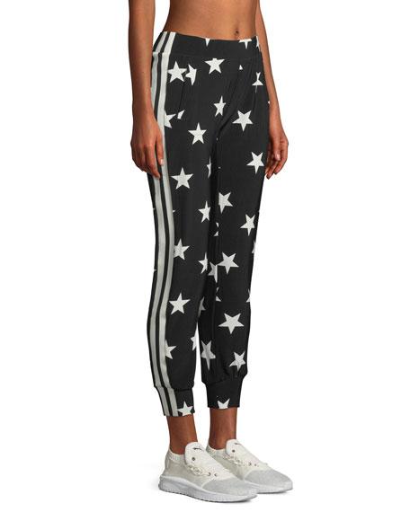 Norma Kamali Star-Print Side-Stripe Jogger Pants