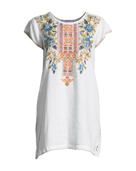 Hira Linen Peasant Tunic Dress, Plus Size