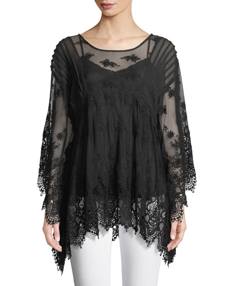 Johnny Was Penelope Flare-Sleeve Top, Plus Size