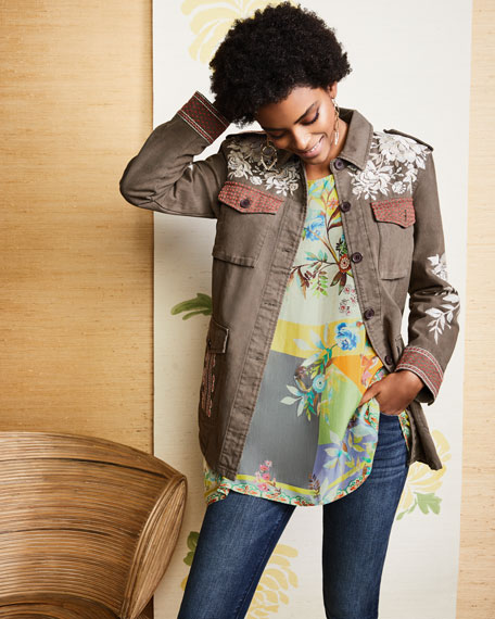Surya Embroidered Military Jacket, Plus Size