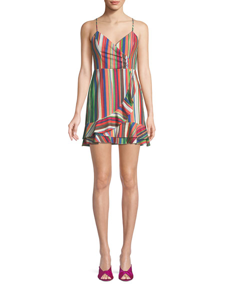 Parker Jay Sweetheart Sleeveless Striped Linen Dress