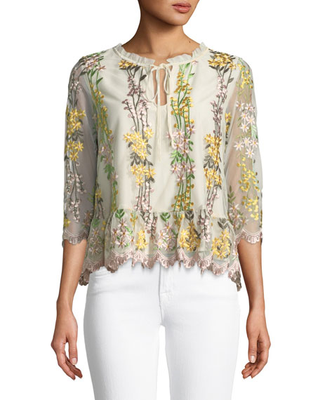 Almeta Floral Embroidered 3/4-Sleeve Top
