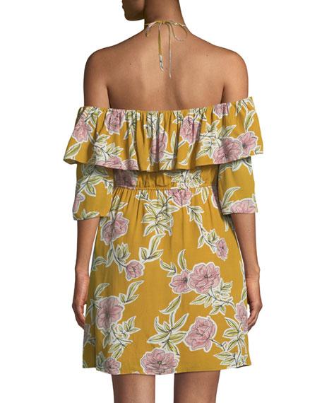 Fonda Floral-Print Off-Shoulder Halter Dress