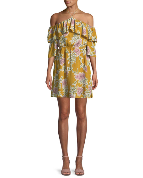CUPCAKES AND CASHMERE Fonda Floral-Print Off-Shoulder Halter Dress in Yellow Gold