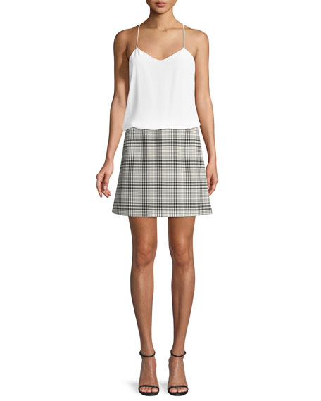 High-Waist Mini Brea Check Skirt