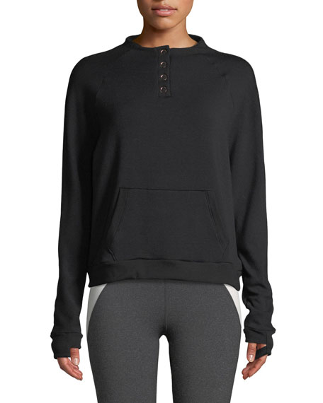Beyond Yoga Snap Me Down Raglan Pullover Sweatshirt