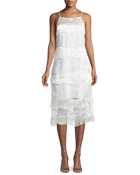 Elie Tahari Cleo Fringed-Trim Shift Dress