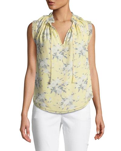 Sleeveless Lemon Rose-Print Silk Blouse