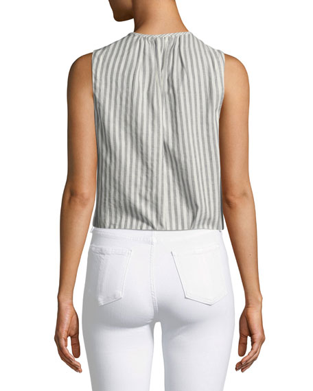 Striped Sleeveless Top with Ruffle Eyelet Bib