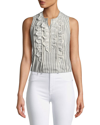 Striped Sleeveless Top with Ruffle Eyelet Bib